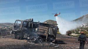 Μεγάλη πυρκαγιά στο Λαγονήσι - Τραυματίστηκαν πυροσβέστες